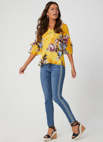 Floral Print ¾ Sleeve Top, Yellow,  3/4 sleeves, chiffon, tie detail, fall 2019, winter 2019