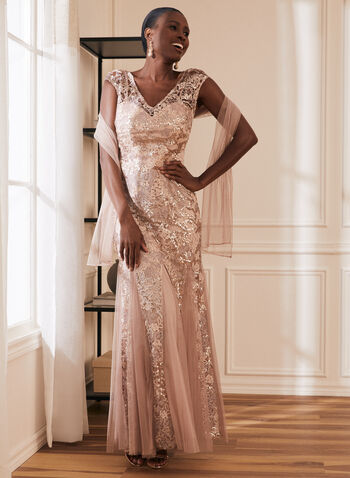 Alex - Sequin Lace & Mesh Dress, Pink,  dress, gown, sequin, lace, mesh, v-neck, v neck, illusion, cap sleeve, sleeveless, floral, mesh godet, mermaid, lined, flowy, shawl, rose gold, blush pink, occasion, evening, spring summer 2021