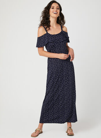 Nina Leonard - Cold Shoulder Maxi Dress, Blue, hi-res