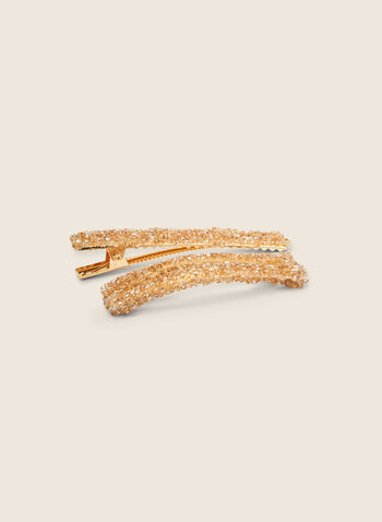 Glitter Hair Clip Set, Off White,  hair, hair clip, glitter, spring summer 2020