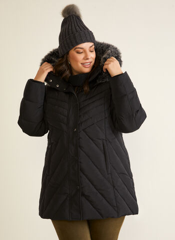 Hooded Down Blend Coat, Black,  fall winter 2020, hood, down blend, coat, stand collar, ribbed, removable hood, detachable, faux fur trim, long sleeve, knit cuffs, zip, button, welt pocket, water-repellant, water resistant, slimming, chevron, quilted, quilting, warm, winter, outerwear, machine washable, dryer safe, laura exclusive
