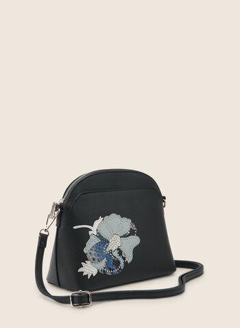 Sac arrondi à appliqué floral, Bleu,  sac à main, arrondi, fleur, strass, similicuir, printemps été 2020