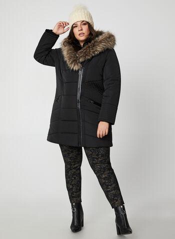 Northside - Faux Fur Heart Hood Coat, Black,  long coat, coat, faux fur, faux fur coat, pleather, asymmetrical zipper, fall 2019, winter 2019