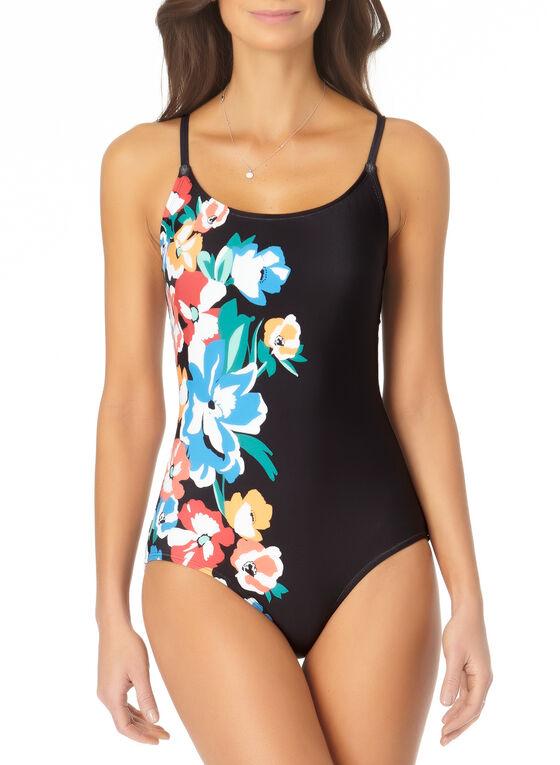 Anne Cole - Floral Motif One Piece Swimsuit, Black
