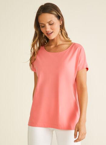 T-shirt en coton et modal, Orange,  t-shirt, manches courtes, coton, modal, printemps été 2020