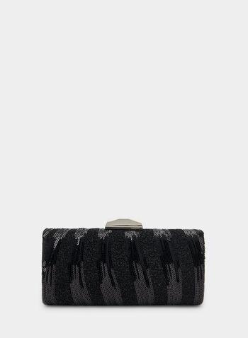 Pochette à sequins et brillants, Noir,  automne hiver 2019, pochette, sequins, brillant, sac, minaudière, accessoire