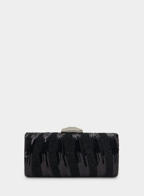 Sequin Box Clutch, Black