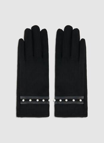 Gants en faux daim et détails perles, Noir,  gants, faux daim, perles, automne hiver 2019