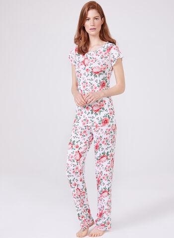 Kathy Ireland – Floral Print Pyjama Set , White, hi-res