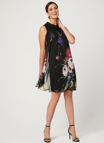 Floral Print Cowl Neck Dress, Black, hi-res