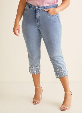 Embroidered Hem Slim Leg Capri, Blue,  capri, embroidery, scallop, slim legs, 5 pockets, cotton, spring 2020