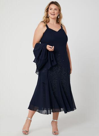 Beaded Crepe Dress & Top Set, Blue, hi-res