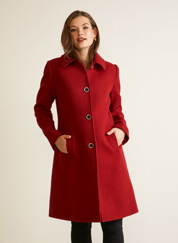 Manteau aspect laine extensible, Rouge,
