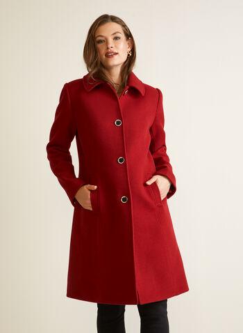 Manteau aspect laine extensible, Rouge,  automne hiver 2020, manteau, structuré, laine, boutons, poches