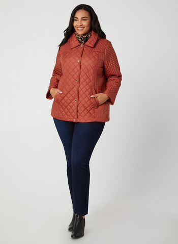 Anne Klein - Quilted Collar Coat, Orange,  coat, quilt coat, quilted, collar, snaps, pockets, long sleeves, comfortable, light, winter 2019, fall 2019