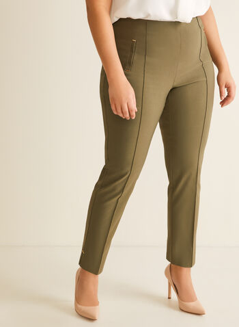 City Fit Straight Leg Pants, Green,  pants, city fit, straight leg, pull-on, elastic, stretchy, pleats, topstitch, metallic details, faux pockets, spring summer 2020