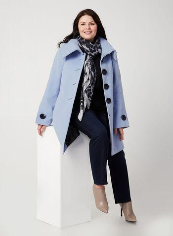 Wool-Like Envelope Coat, Blue, hi-res,  coat, envelop collar, faux wool, long sleeves
