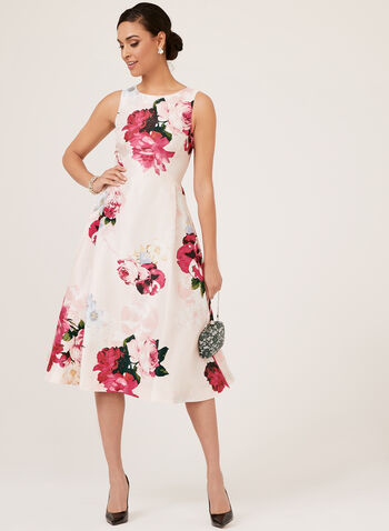 Robe florale sans manches , Rose, hi-res