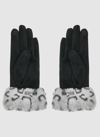 Gants en suède et motif animalier, Noir,  gants, suède, fausse fourrure, animalier, automne hiver 2019
