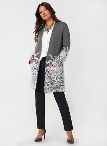 Eyelash Knit Cardigan, Grey,  fall winter 2019, cardigan, open front, long sleeves