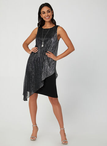 Asymmetrical Metallic Dress, Silver,  dress, cocktail dress, jersey, metallic, asymmetrical, sleeveless, fall 2019, winter 2019