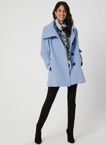 Oversized Collar Wool-Like Coat, Blue, hi-res,  fall coat, wool, envelope collar, side pockets, coat, large buttons, fall 2019