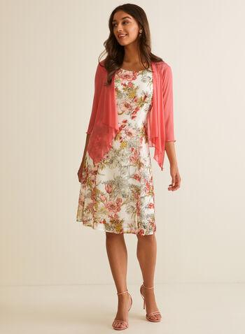 Floral Print Dress & Cardigan, Orange,  dress, cardigan, chiffon, sleeveless, 3/4 sleeves, scoop neck, cascade, open front, floral, a-line, spring summer 2020