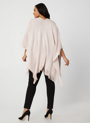 Echo New York - Étole frangée en tricot pointelle , Rose, hi-res,  étole, franges, tricot, pointelle, automne hiver 2019