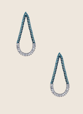 Open Teardrop Dangle Earrings, Green,  earrings, dangle, teardrop, open, crystals, stones, spring summer 2020