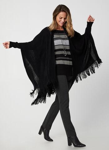 Echo New York - Étole frangée en tricot pointelle , Noir, hi-res,  étole, franges, tricot, pointelle, automne hiver 2019