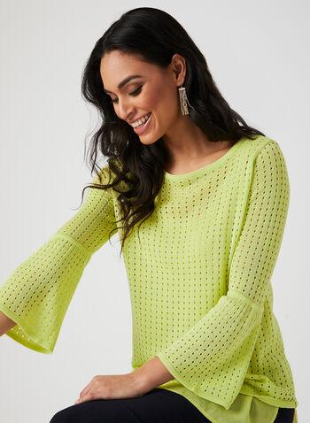 Haut en tricot à effet superposition, Vert, hi-res,