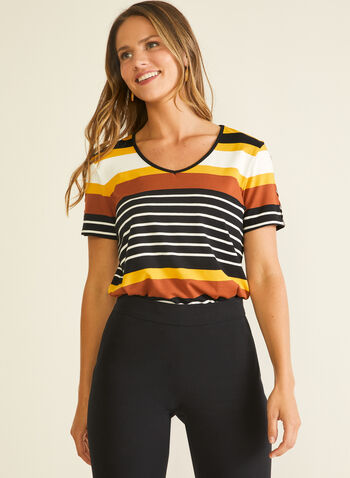 Stripe Print Slit Sleeve Tee, Brown,  t-shirt, short sleeves, striped, jersey, spring summer 2020