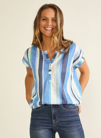 Stripe Print Linen-Like Tee, Blue,