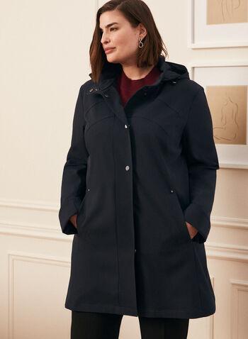 Hooded Raincoat, Blue,  coat, raincoat, outerwear, hood, long sleeves, spring summer 2020