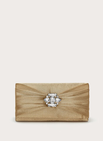 Pleated Glam Clutch, Gold, hi-res
