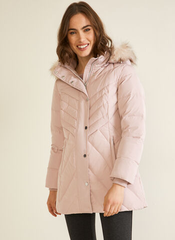 Hooded Down Blend Coat , Pink,  coat, down, hood, quilted, fall winter 2020