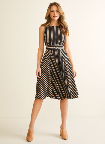 Stripe Print Belted Dress, Black,  Spring summer 2020, dress, day dress, fit & flare silhouette, stripe print, sleeveless, belted