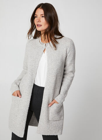 Knit Open Front Cardigan, Grey,  cardigan, open front, knit, knitwear, yarn, textured, lightweight,long sleeves, fall 2019, winter 2019