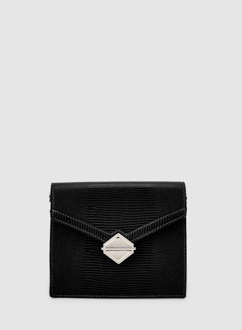 Flapover Handbag, Black, hi-res