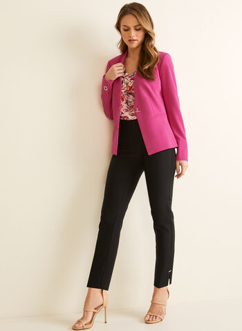Single-Button Crepe Blazer, Purple,  blazer, crepe, single button, lined, shoulder pads, long sleeves, spring summer 2020