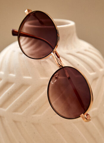 Round Sunglasses, Gold,  spring summer 2021, accessories, eyewear, glasses, sunglasses, uv protection, round, wire frame