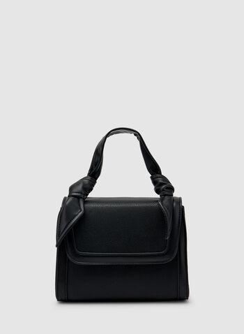 Sac cartable à détails noués, Noir,  sac, cartable, similicuir, nœud, automne hiver 2019