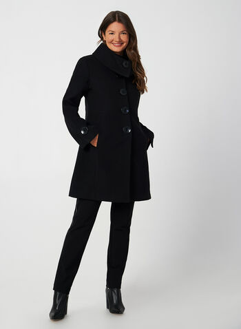 A-Line Wool-Like Coat, Black,  fall winter 2019, wool, A-line, buttons