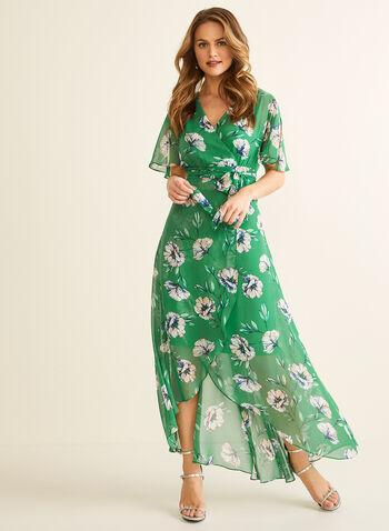 Robe longue fleurie en mousseline , Vert,  robe longue, fleurs, mousseline, col croisé, manches fendues, volant, ceinture, printemps été 2020