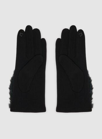 Gants avec détail en fausse fourrure, Noir, hi-res,  gants, fausse fourrure, polyester, acrylique, automne hiver 2019