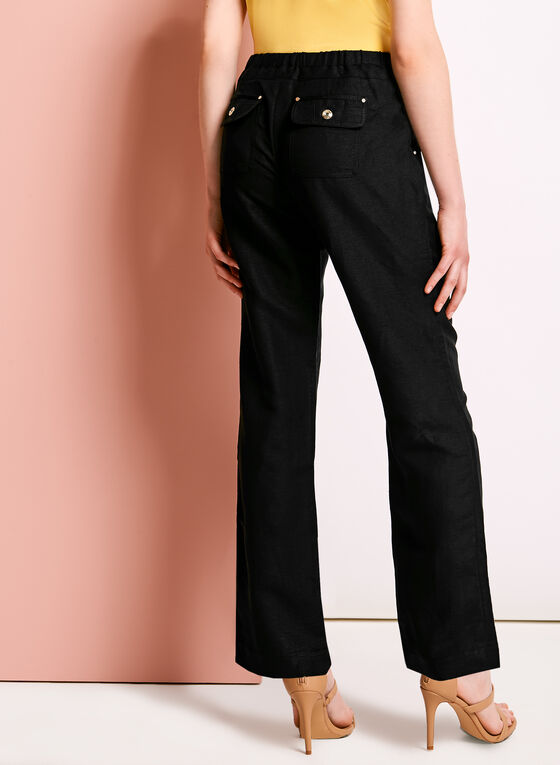 Modern Fit Straight Leg Linen Pants, Black, hi-res