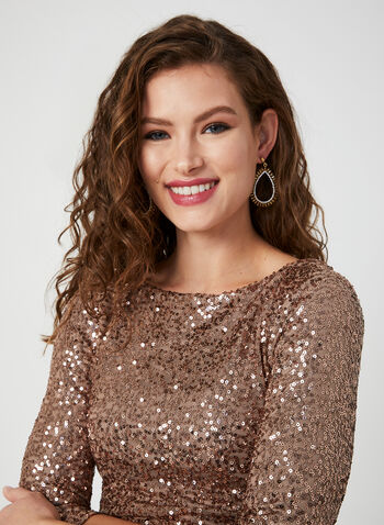 ¾ Sleeve Sequin Dress, Brown,  dress, cocktail dress, sequins, 3/4 sleeves, long sleeves, fall 2019, winter 2019