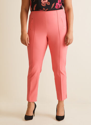 Pantalon coupe cité à jambe droite, Orange,  pantalon, pull-on, cité, jambe droite, pinces, fentes, rivets, printemps été 2020