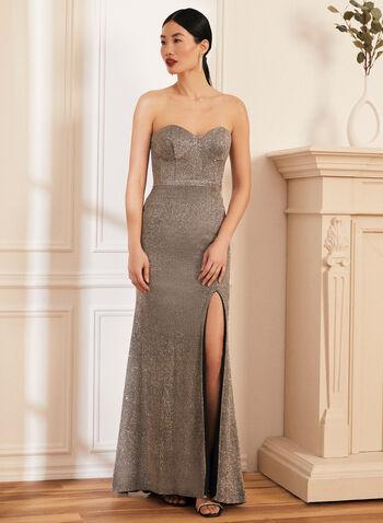 Bustier Glitter Gown, Gold,  prom dress, gown, column, glitter, metallic, bustier, sweetheart, strapless, high slit, open back, spring summer 2021