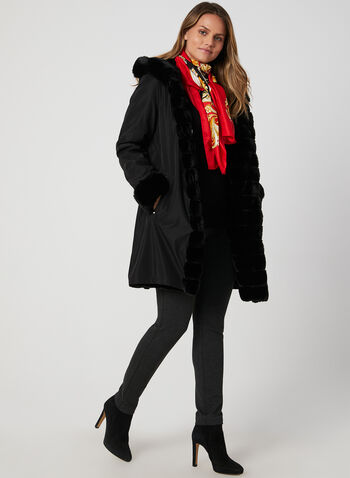 Reversible Hooded Coat, Black, hi-res,  faux fur coat, hooded coat